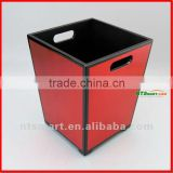 Leather covered Diamante waste bin with storage set boxes or statonary for hotel or office