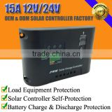 15A 12V/24V solar home system charge regulator controller with LED indicator and work modes setting button