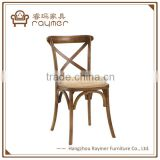 French Bistro Style Classical X Back Antique oak Wood Chair for event and party
