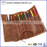 Custom genuine Leather Pencil Roll art drawing pencil case holder scroll with strap