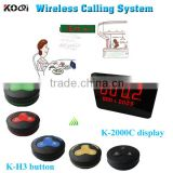 Waiter Calling System For Restaurant Wireless Waiter Call Equipment Including LED Display+Restaurant 100% Waterproof Bell Button