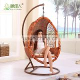 High Quality French Indoor Bamboo Real Natural Rattan Wicker Cane Hanging Swing Chair with Stand