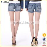 Wholesale fashion hot pants sexy mini denim ripped women short beaded jeans