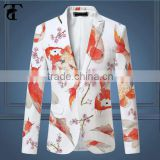 OEM latest designer top quality new fashionable long sleeves one button slim fit floral outdoor printed fancy blazers for men