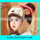 Wholesales custom baby hats and caps with ears winter cute design wind-proof infant beanie kids knitted bonnet