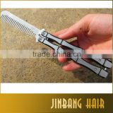 High quality stainless steel practice training butterfly balisong style knife comb training tool