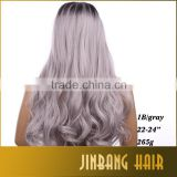 Best selling cheap cosplay wig synthetic hair wig 24 inch 1B Ombre Silver Grey Lace Front Wigs