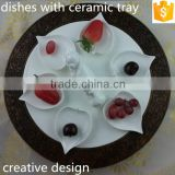 "creative design ceramic bone china leaf shape 4.25"" dishes with round shape 11.75"" tray"