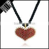 Best selling fashion metal antique gold plated pearl red crystal heart pendant