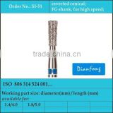 FG shank high speed medium grit inverted cone dental consumables materials