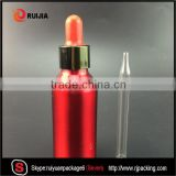 Hot selling 30ml red essential oil aluminum bottle with dropper cap and screen painting customed wholesales
