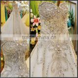 Beads Crystal Sexy Diamond Wedding Dresses/beaded fabrics lace for bridal 3d tulle lace design                                                                         Quality Choice