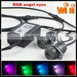 newest rgb colors chang Wifi controler E90 20W Crees Chips rgb led angel eyes marker kit for bmw e90 e91