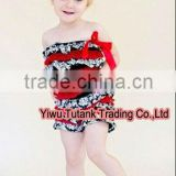 Hot Red Layer Chiffon Baby Lace Rompers with Hot Red Bow GB005