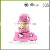 pink wholesale women's knit hat and scarf sets knit hat with ball top