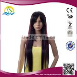 Wholesale price High Temperature Fiber synthetic long black straight hair wig