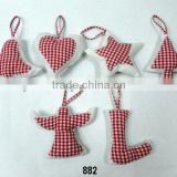 Check Cloth Bell, Heart, Star,Tree,Angel & Stockings X-Mas Hanging,Ornament & Decoration for Christmas Tree