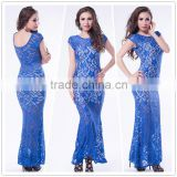 Hot wholesale royal blue maxi style mature women evening wear new fashion lace dress 2015