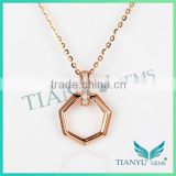 White Moissantie Diamond Pendants Charms Six Star Rose gold Necklace