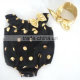 Hot Selling Baby Cute Romper, Polka Gold Dot And Floral Decoration Seaside Bella Romper With Headband,Jumpsuit For Baby Kids