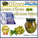 High Quality Tunisian Table Olives,Green Olives with Green Peppers,Table Olives with Green Pepper 370 ml Glass Jar