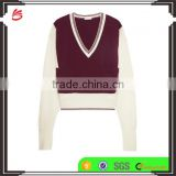 V-Neck Burgandy and Ivory Color Combination Women's Cashmere Sweater in Raglan Sleeves Design