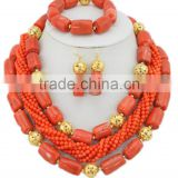 Gold-Plated 3Rows Column Ball Coral Beads Nigerian Jewelry Set