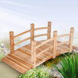 wooden garden pond bridge