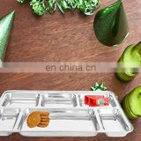 Top quality stainless steel mess tray fast food tray 4 compartment fast food tray plates