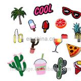 Cactus embroidery patch,red lipstick clothes decoration, bag hat accessories , cool, coconut tree, glasses, banana, pizza