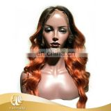 2017 new arrival orange colored handmade human hair lace wig