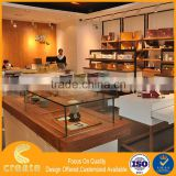 Wall mounted wooden furniture display showcase with metal rack from Guangzhou supplier