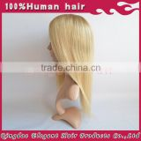 Factory price two colors blonde straight hair silk top european hair full swiss lace wig