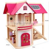 Hot sale two floor miniatures wooden toy doll furniture house