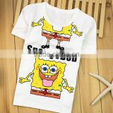 children's boutique SpongeBob shirts cute cartoon kids tshirt clothing wholesale white kid short sleeve shirt