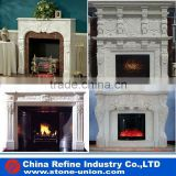 classic white natural stone pillar carved shabby chic fireplace mantels