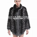 QD30501 Women Bat Wing Sleeves Rex Rabbit Fur Clothes
