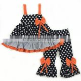 New arrival lovely girls clothes polka dot halloween sets baby clothes kids boutique clothes