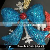 christmas iron wire hanging bow ornament, new style big metal glitter bow