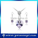 Plated Jewelry Set Fashion Alloy Jewelry Main Material Crystal Customize Necklace Jewelry Set Gift S0005