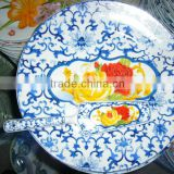 2015 new christmas ceramic dinnerware porcelain plate,red christmas full decal flat plate set