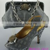 ME0010 gray High quality shoes and bags/ italian ladies shoes and matching bags/ women slipper/ wholesale shoes