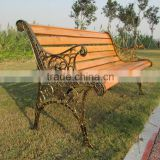Contemporary Modern Wooden Outdoor Furniture Garden Patio Park Long Bench Chair with Cast Wrought Iron Legs Ends                                                                         Quality Choice