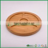 Solid round bamboo wooden serving tray with 4 sections                                                                                                         Supplier's Choice
