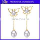 Wholesale Long Butterfly Earring Fresh Water Pearl Drop Earring Rose Gold Sterling Silver Pearl Earring For Lady