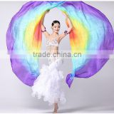 100% Silk Stage Performance Dance Accessories 1 Piece Half Circle Silk Veil Right/Left Hand Belly Dance Veils Isis Wings