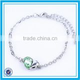 Lowest price plated silver bracelet heart shaped crystal trendy bracelet 2015