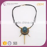 N72106L01 STYLE PLUS latest design pendant necklace diffuser emerald bead necklace metal teeth gold plate necklace