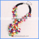 Wholesale Handmade Colorful Turquoise Gemstone And Leather Cord Flower Pendant Choker Necklaces GN-DQ054A