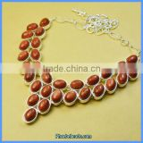 Wholesale High Quality Gold Sandstone Choker Gemstone Beads Necklaces GN-N011